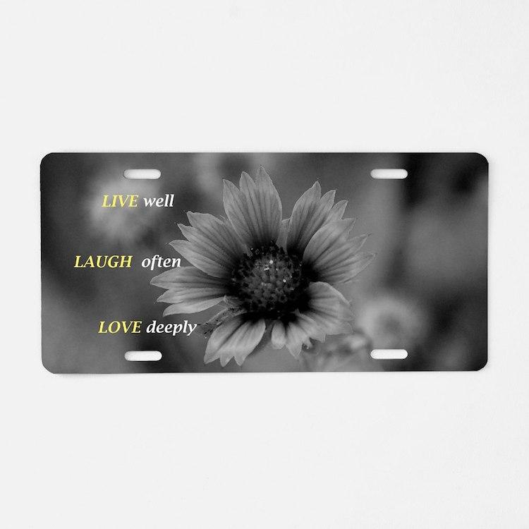 Cute Live laugh love learn Aluminum License Plate