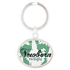 newborn green feet twilight copy Oval Keychain