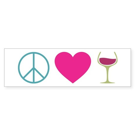 Peace Love Wine Sticker (Bumper)