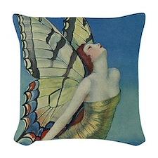Art Deco Glamour Butterfly Woven Throw Pillow