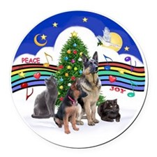 R-Xmas Music 1 - 2G-Sheps-2cats Round Car Magnet