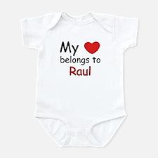 My heart belongs to raul Infant Bodysuit