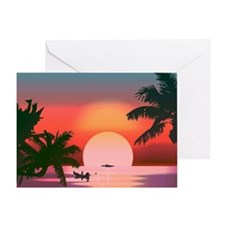 tropical sunset Greeting Cards