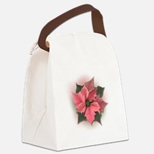 Pink Poinsettia Canvas Lunch Bag