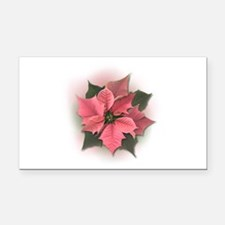 Pink Poinsettia Rectangle Car Magnet