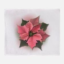 Pink Poinsettia Throw Blanket