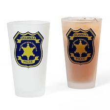 GrammarPoliceGoldAndNavyBlueFront Drinking Glass