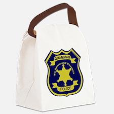 GrammarPoliceGoldAndNavyBlueFront Canvas Lunch Bag