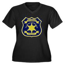 GrammarPolic Women's Plus Size Dark V-Neck T-Shirt