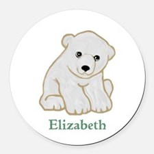 Baby Polar Bear Round Car Magnet