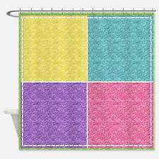 Pastel Patchwork Felt Shower Curtain