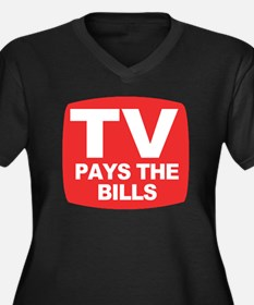 paysthebills Women's Plus Size Dark V-Neck T-Shirt