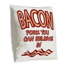 Pork You Can Believe In Burlap Throw Pillow