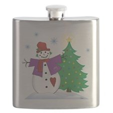 Country Snowman Flask