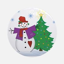 Country Snowman Round Ornament