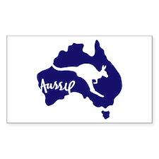 Aussie Roo Blue Rectangular Decal