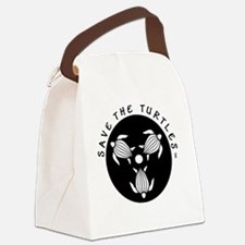 SAVE THE TURTLES BLACK LOGO DESIG Canvas Lunch Bag