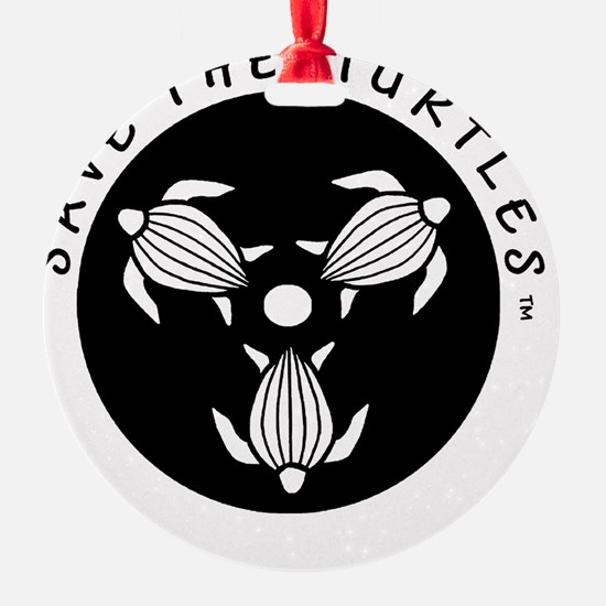 SAVE THE TURTLES BLACK LOGO DESIGN Ornament