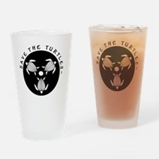 SAVE THE TURTLES BLACK LOGO DESIGN Drinking Glass