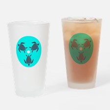 Save the Turtles Blue Logo dark shi Drinking Glass