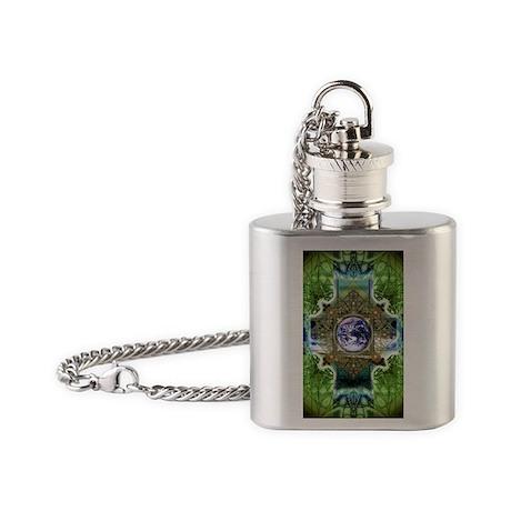 Earth-Ascension-Peace-Mandala Flask Necklace