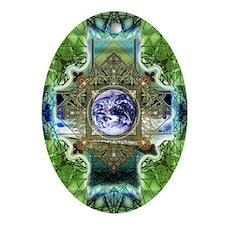 Earth-Ascension-Peace-Mandala Oval Ornament