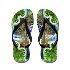 Earth-Ascension-Peace-Mandala Flip Flops