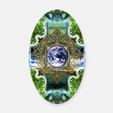 Earth-Ascension-Peace-Mandala Oval Car Magnet