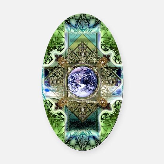 Earth-Ascension-Peace-Mandala Oval Car Magnet