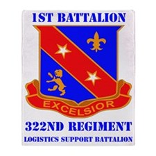 DUI-1-322ND REGIMENT WITH TEXT Throw Blanket