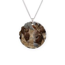 Donkey and her Foal Necklace Circle Charm