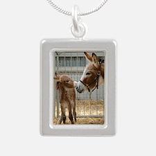 Newborn Donkey Foal Silver Portrait Necklace
