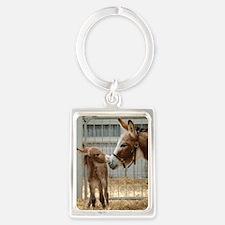 Newborn Donkey Foal Portrait Keychain