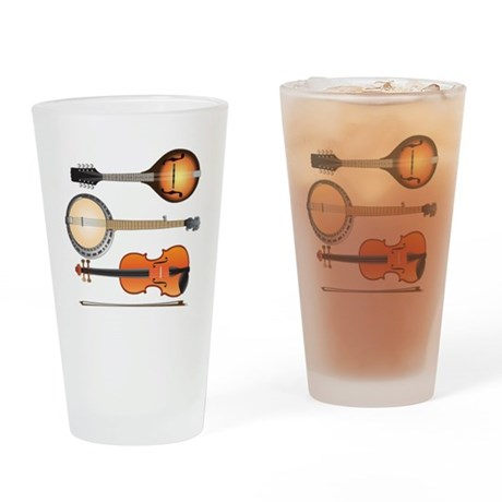 AMTVCafePressMandoBanjoViolin Drinking Glass