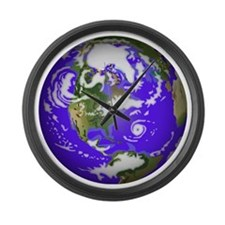 0planet_earth Large Wall Clock