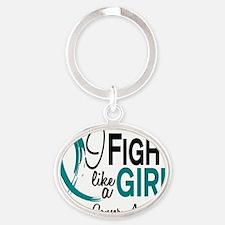 Ovarian Cancer Oval Keychain