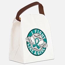 Fight Like A Girl Ovarian Cancer  Canvas Lunch Bag