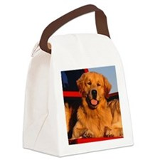 Golden PU round orn Canvas Lunch Bag