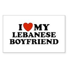 I Love My Lebanese Boyfriend Rectangle Decal
