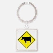 yellow_cattle_crossing_sign_real Square Keychain