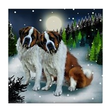 SAINT BERNARD DOGS SNOW MOUNTAIN Tile Coaster
