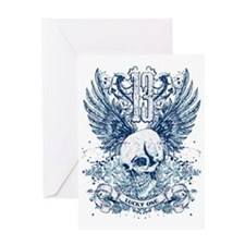 Lucky 13 skull Greeting Card
