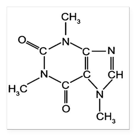 "Caffeine Chemistry funny Square Car Magnet 3"" x 3"""