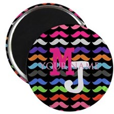 Custom Monogram Mustache Pattern Magnets