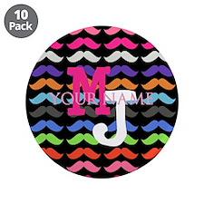 "Custom Monogram Mustache Pattern 3.5"" Button (10 p"
