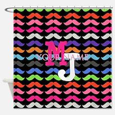 Custom Monogram Mustache Pattern Shower Curtain