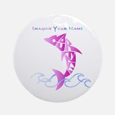 Cortney pink dolphin Ornament (Round)