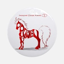 Courtney red horse Ornament (Round)