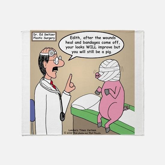Pig Plastic Surgery Throw Blanket