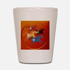 Four Ancient Horses-circle Shot Glass